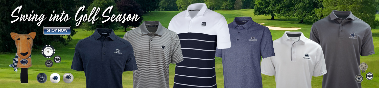 Penn State University polo golf shirts and golf accessories
